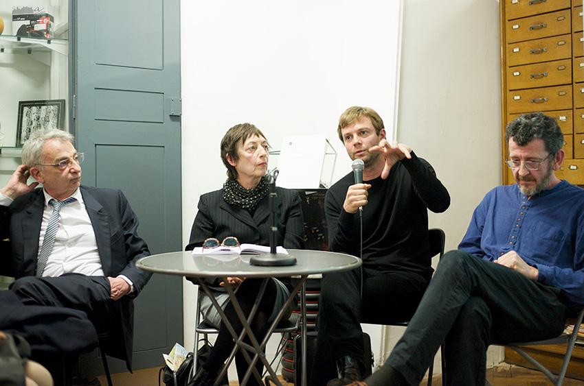 « L'invention du paysage bordelais » avec de gauche à droite : Bruno Fortier, Anne-Marie Fèvre, Bas Smet et Sébastien Marot
