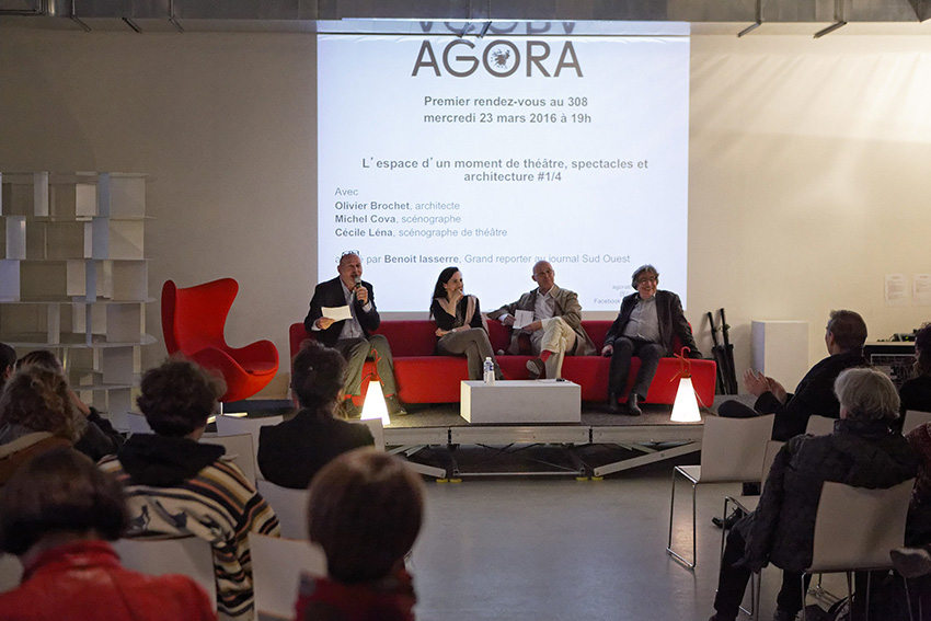 « L'espace d'un moment de théâtre : spectacles et architectures » avec de gauche à droite : Benoit Lasserre, Cécile Léna, Olivier Brochet et Michel Cova.