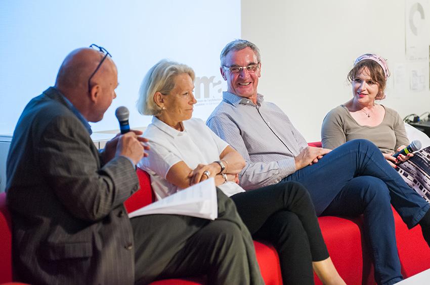 « Culture et mobilité » avec de gauche à droite : Benoit Lasserre, Michèle Laruë-Charlus, Alfred Peter et Claire Andries.